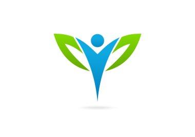 Body leaf fit logo design symbol vector