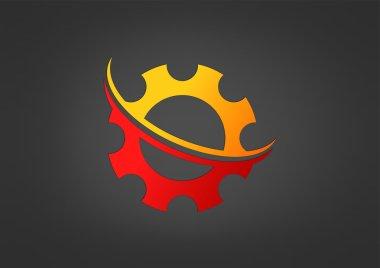 Gear swirl technology logo design vector