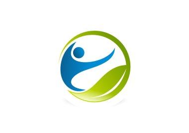 Wellness center logo, human health fit symbol design vector