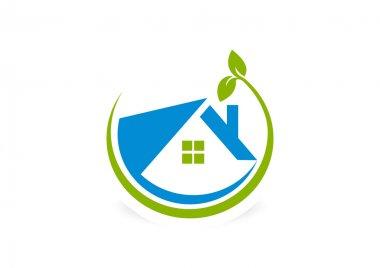 Circular global house logo design symbol vector