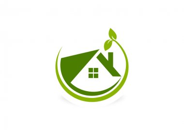 Green eco friendly  house logo design symbol vector
