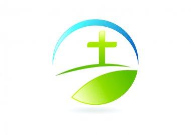 Religious life way logo design symbol vector