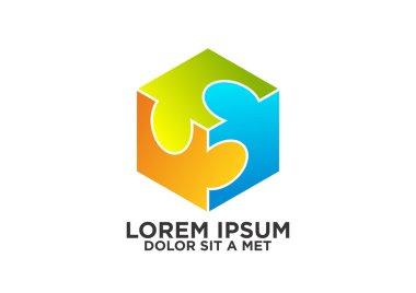 Cube puzzle team work business logo symbol vector