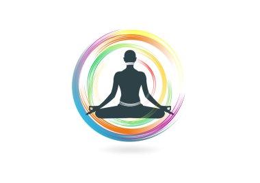Yoga abstract spirit healthy circular logo design symbol vector