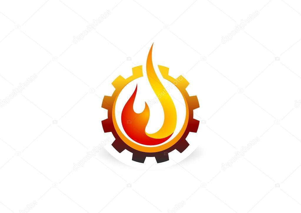 Fire flame gear technology logo design symbol vector