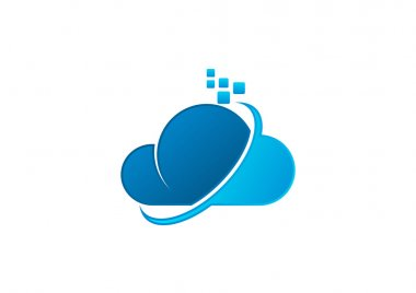 Business cloud computing logo design vector