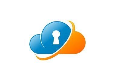 Cloud security logo design  vector