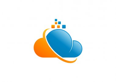 Cloud data  technology logo design symbol vector