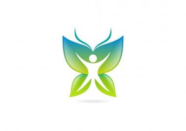 body fit butterfly logo symbol design vector