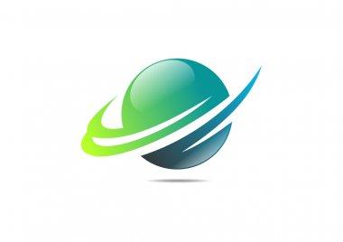 Green global success finance logo sphere growth