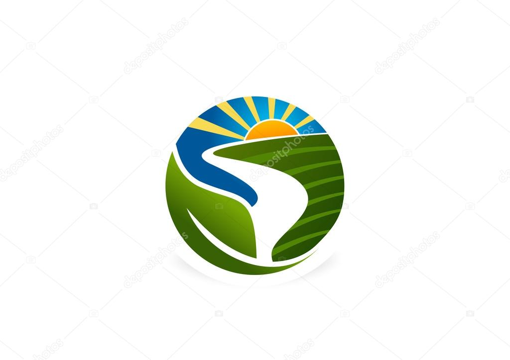 Natural farm logo, abstract fresh  landscape