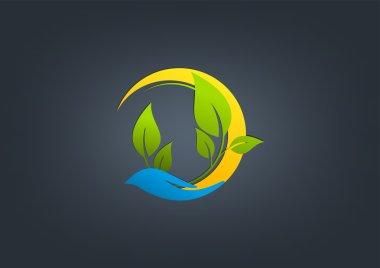Natural care logo, green care vector design