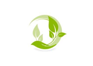 Green growth care logo, abstract ecology design vector