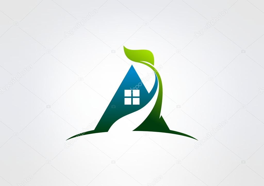 Green home vector logo design, eco home concept.