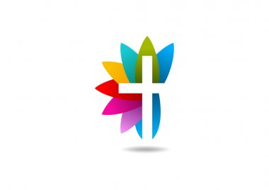 Cross religious leaf logo