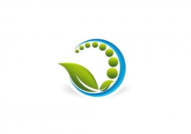 Chiropractic abstract Natural Wellness vector logo design