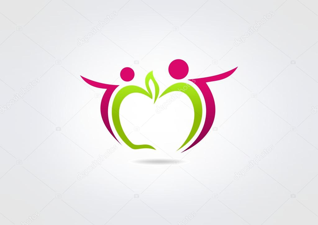 Healthy Apple people vector logo design,