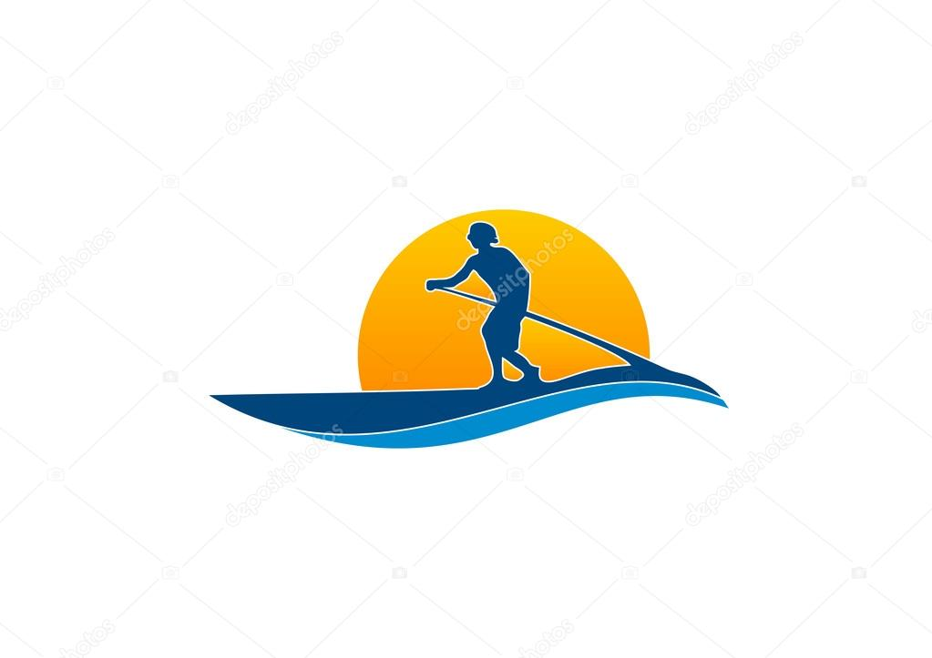 Paddle surfboard logo — Stock Vector © breee #61751311