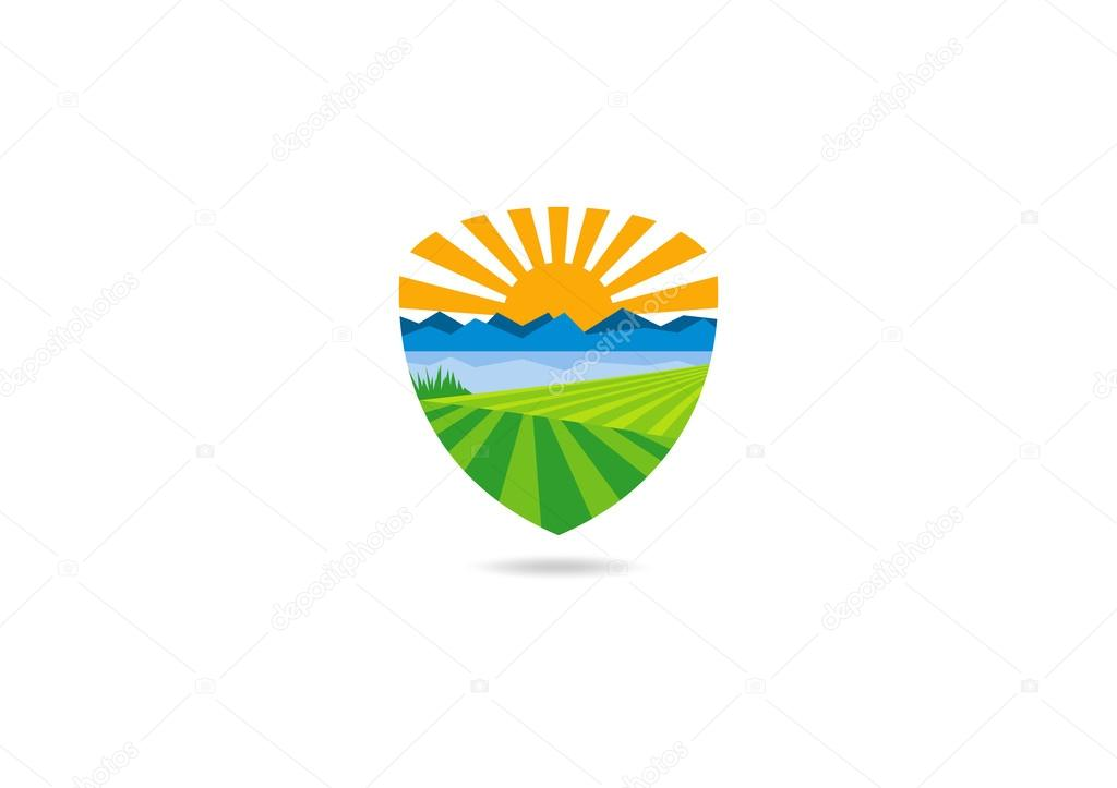 Landscape farm vector logo design