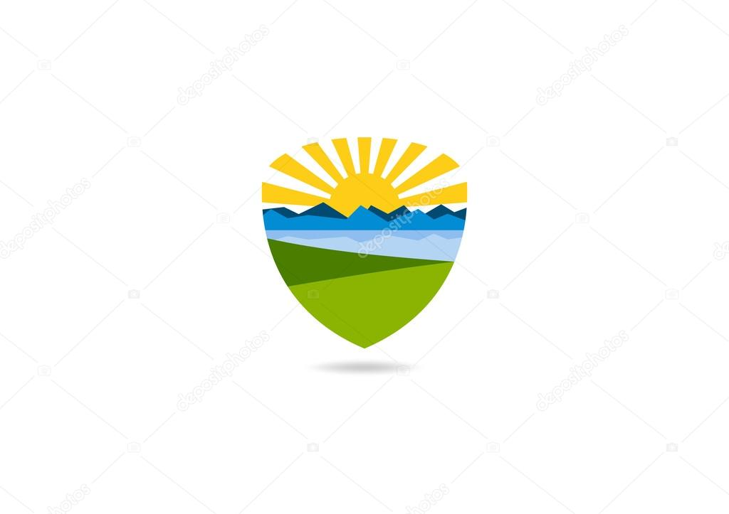 Landscape success vector logo