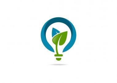 Innovation idea leaf growth logo, green bulb creative design