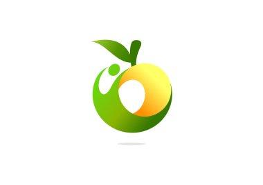 Green fruit healthy body logo