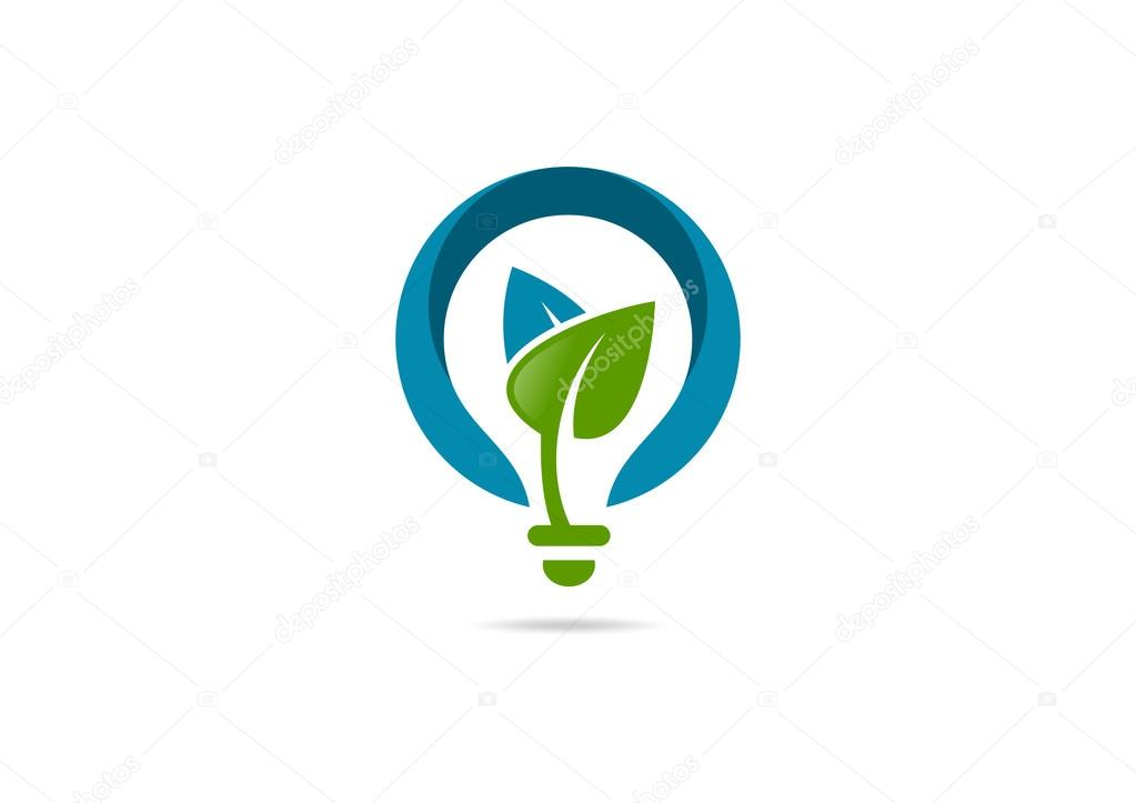 Innovation idea leaf growth logo, green bulb creative design