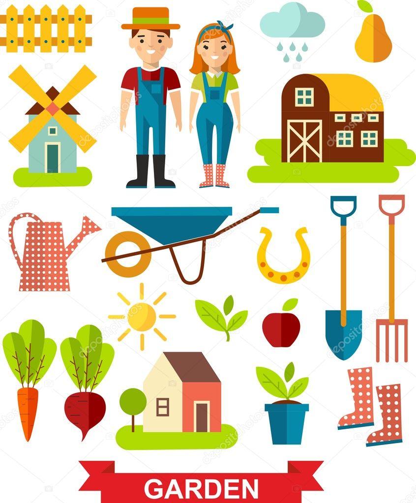 Flat stylish icons for gardening concept