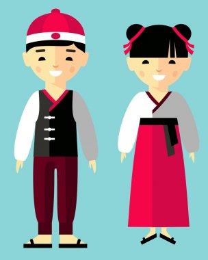 Vector illustration of japanese children, boy, girl, people