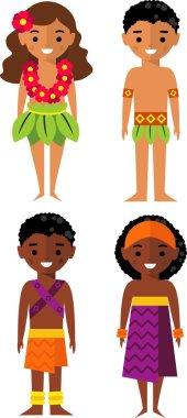 Vector illustration of african-american, hawaiian children