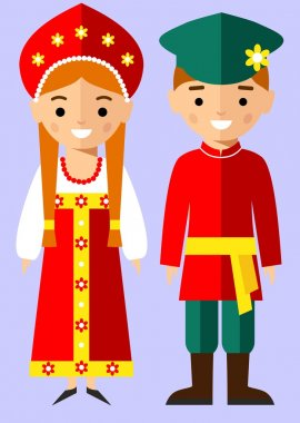 Vector illustration of russian children, boy, girl, people