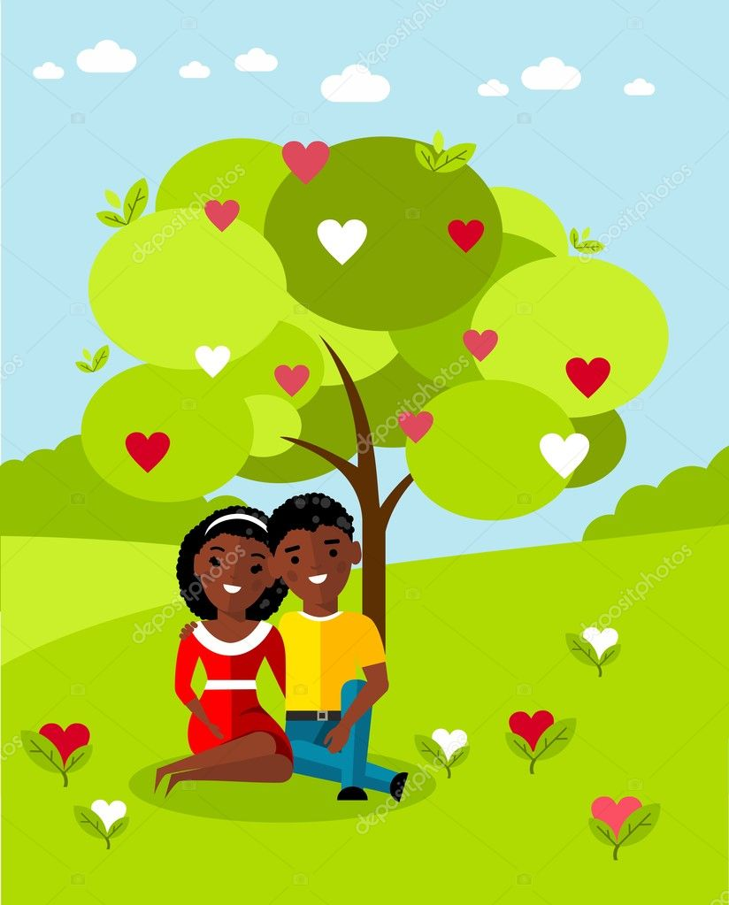 Vector illustration of a romantic african american couple in love