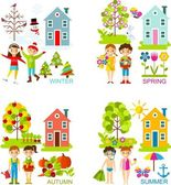 Set of vector illustration seasons with tree, children and house in flat style.