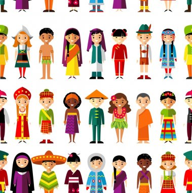 Seamless background with set of multicultural national children.