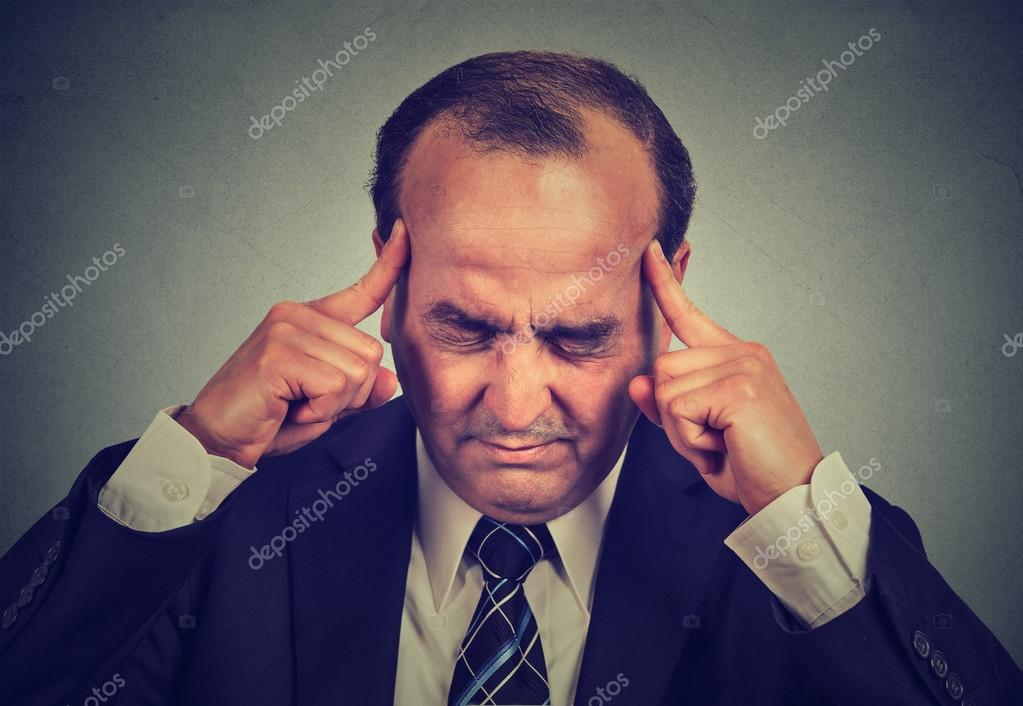 sad man with worried stressed face expression thinking trying to concentrate