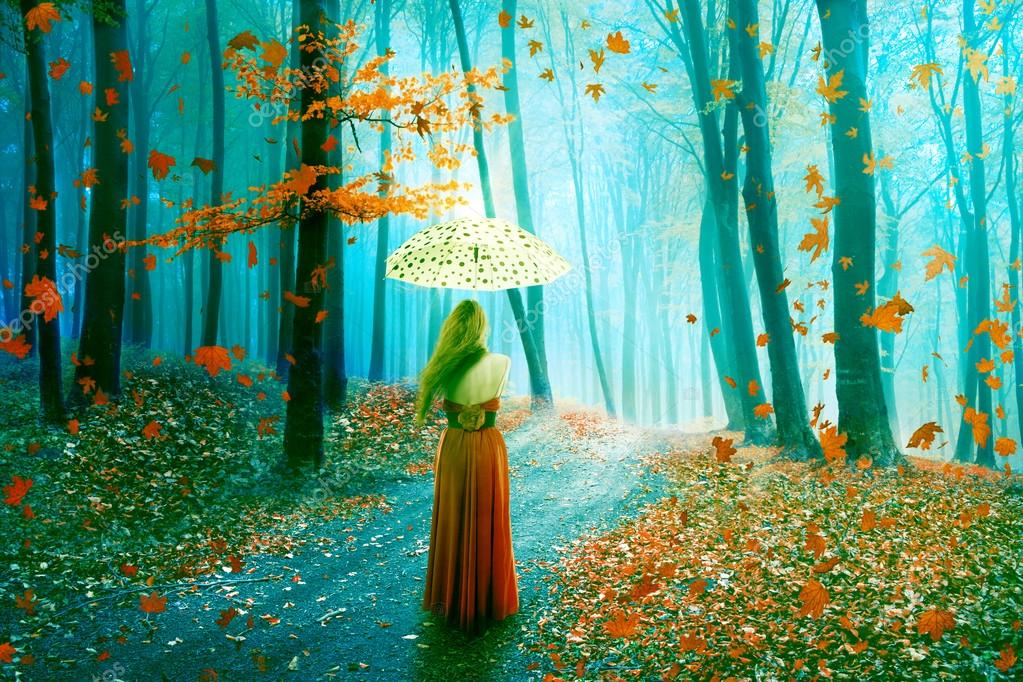 Fantasy image beautiful woman walking in forest in fairy dreamy realm