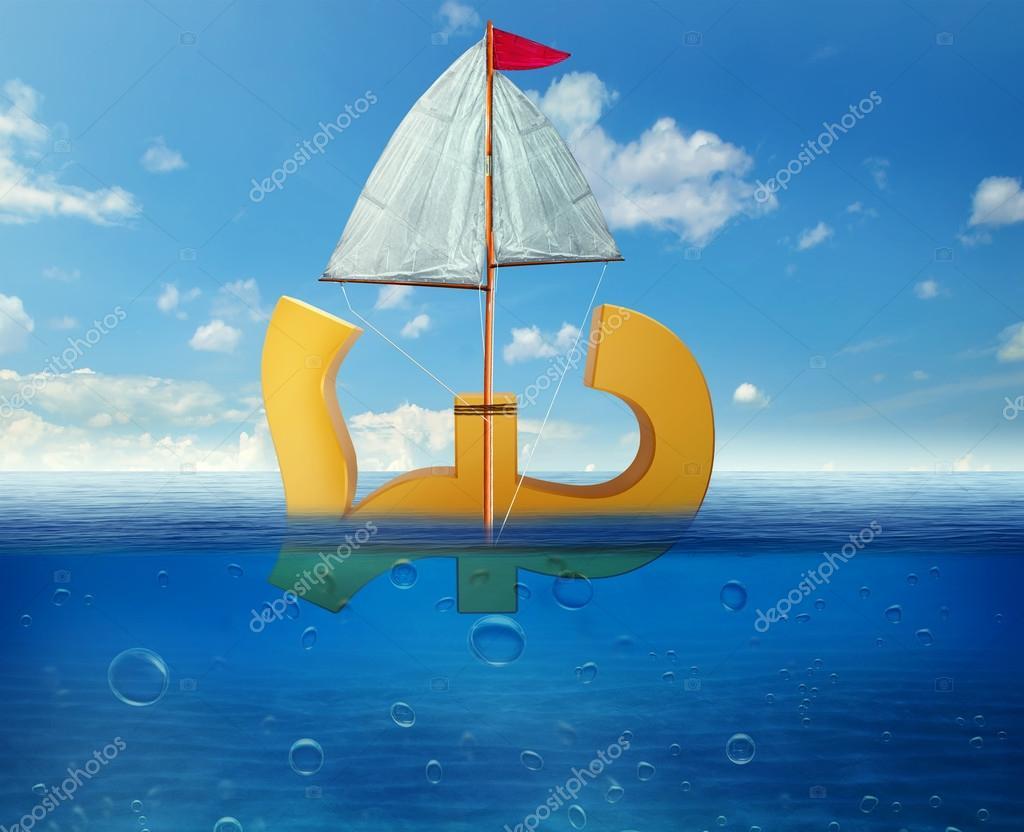 Pound Sinking In Sea Symbol Of Future Uk Economy Depression