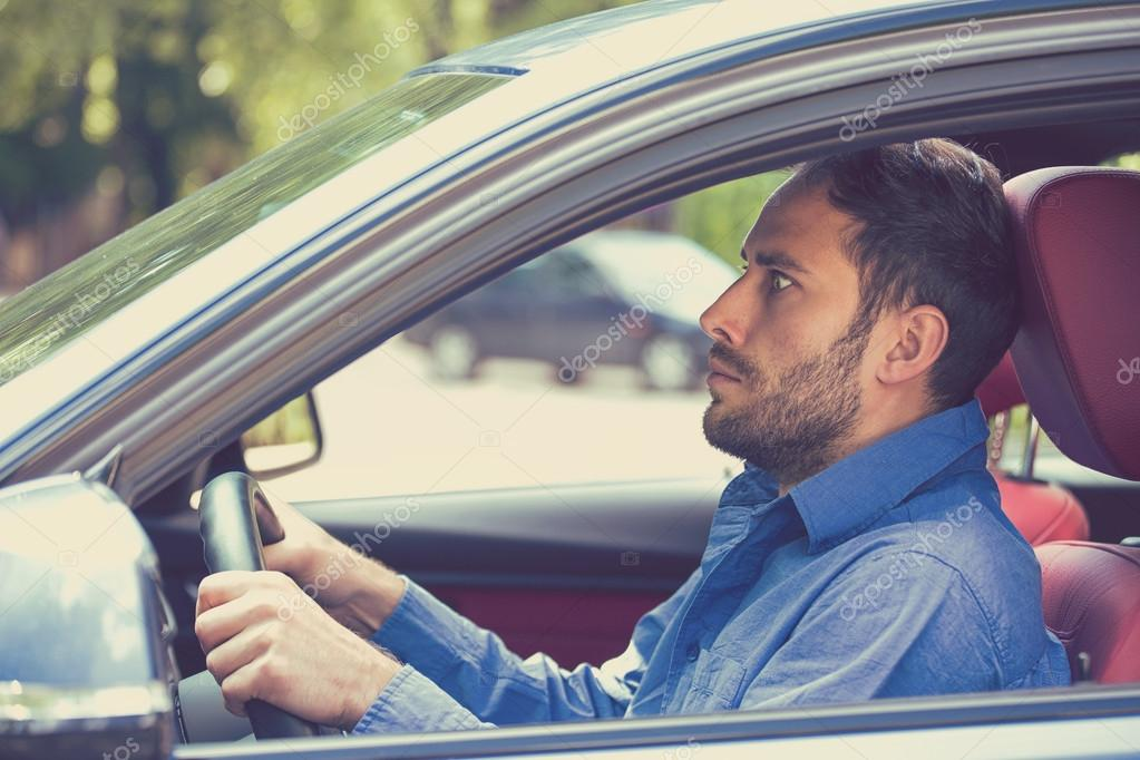 Scared Funny Looking Young Man Driver In The Car. Inexperienced Anxious  Motorist U2014 Stock Photo
