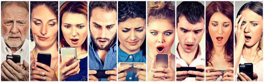 Surprised Shocked Group Of People Men Women Texting On Smart Phone Stock Photo