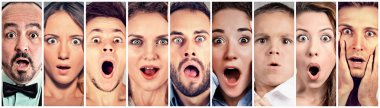 Surprised shocked people. Human emotions reaction