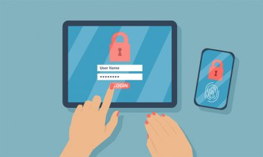 Vector of a woman login into her digital tablet and smart phone with two factor authentication security process icon