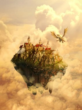 Illustration of isolated dreamland, mystique place, home, castle of a beautiful princess invaded, protected by scary dragon. Original screensaver. Fairytale, mythic story concept. stock vector