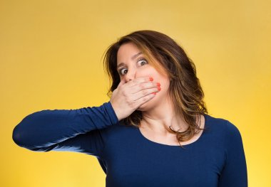 Employee, covering mouth. Speak no evil concept