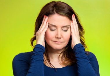 Stressed woman having so many thoughts