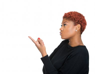 Young woman pointing with finger up, solving problem