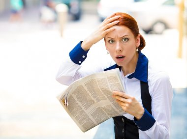 Astonished businesswoman reading newspaper outside her office, unexpected bad news, in disbelief, wide open mouth. Human face expressions, emotions, feelings, reaction, body language, life perception stock vector
