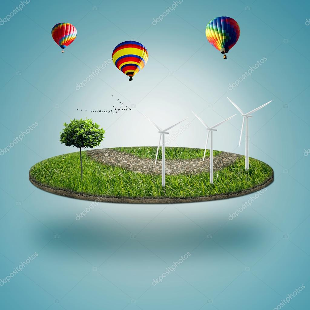 Green micro world, green earth with wind energy turbines installed on it