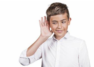 Nosy man, teenager secretly listening private conversation