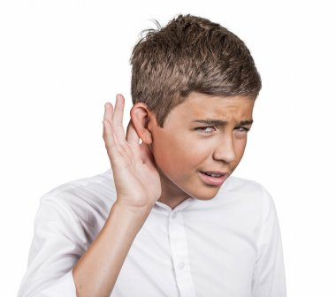 Unhappy hard of hearing man placing hand on ear asking speak up