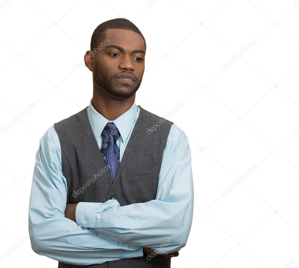 Annoyed, grumpy executive business man